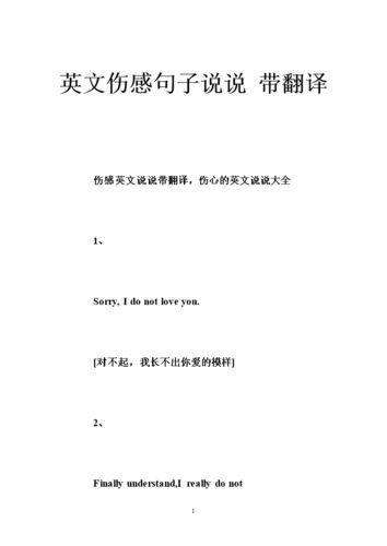 英语伤感语录带翻译 一些唯美的英文句子,带翻译