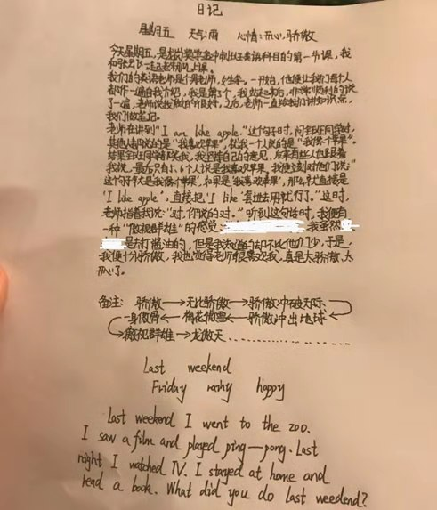 小学英语日记五句话 英语小学日记五句话,带翻译