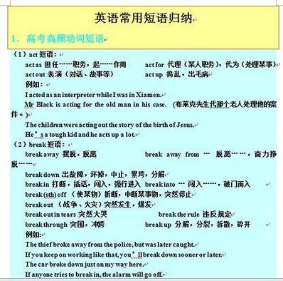 英语高考必备短语汇总 高考英语必备短语
